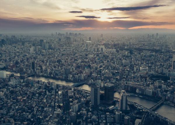 Coucher de soleil sur Tokyo depuis le Skytree