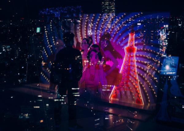 Jeu de lumuières et d'ombres au sommet de la tour de Tokyo