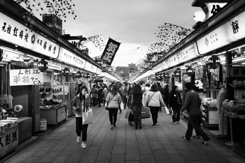 Takeshita Dori, une rue bondée d'Harajuku, portait de rue d'un tournage