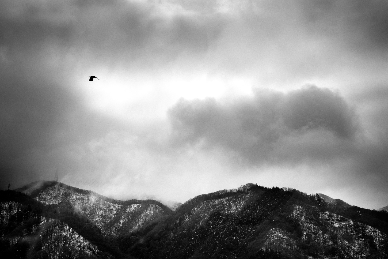 Depuis la fenêtre du bus qui me mène à Kofu, j'aperçois de la neige sur les montagnes japonaises